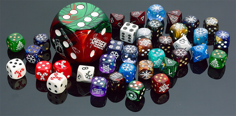 The dice, like the ones is this picture, will be produced by our good friends at Chessex.